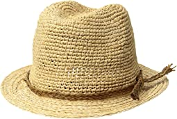 Crochet Raffia Fedora with Braided Raffia Trim