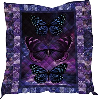 YunTu 3D Printed Butterfly Camp King Quilt Blanket Queen Quilts Kids Size Throw Blanket Outdoor Quilt Picnic Blankets Quilted Camping Blanket Sleeping Mat Warm Travel Blankets (Purple,King(90x102in))