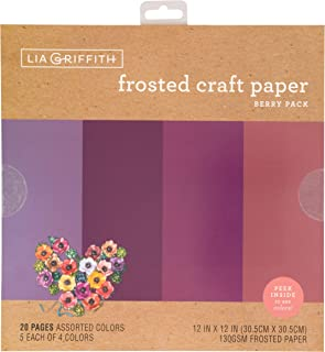 """Lia Griffith PLG41103 Frosted Craft Paper, 12"""" x 12"""", Berry Pack 20 Sheets"""