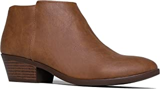 Lexy Ankle Boot - Low Stacked Heel Closed Toe Casual Western Bootie