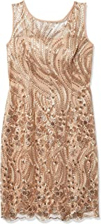 Sandra Darren womens 1 PC Sleeveless Embroidered Mesh Sheath Dress Dress