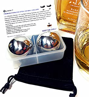 Whiskey Balls Stainless Steel Reusable Round Metal Ice Cubes (Set of 2) Drink Coolers, Velvet Bag, Freezer Case & Info Card | Retain Full Flavor & Chill | Groomsmen Birthday Unique Gift for Men