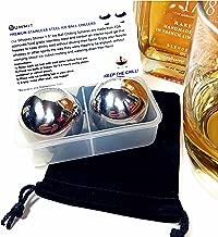 Whiskey Balls Stainless Steel Reusable Metal Ice Cubes Set of 2 Ice Ball Coolers Chillers Velvet Bag Freezer Case & Instructions | Retain Full Flavor & Chill | Groomsmen Christmas Whiskey Gift for Men