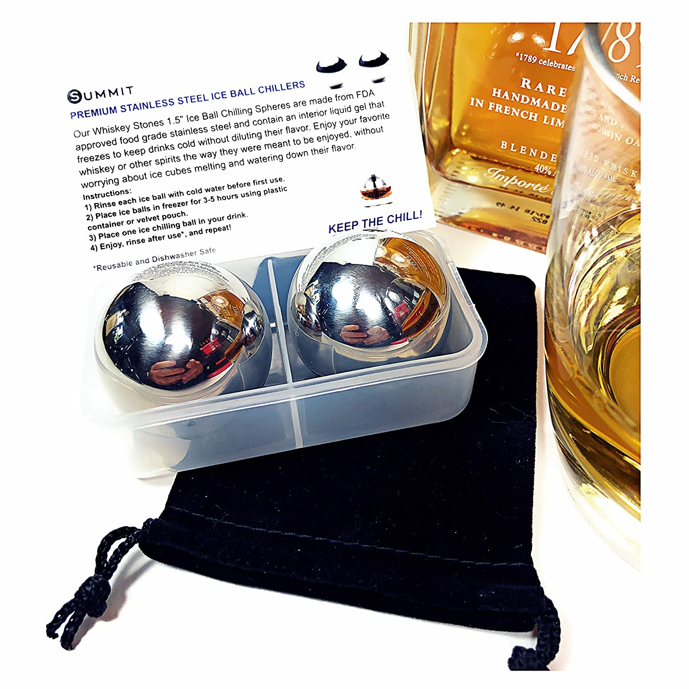 Whiskey Stainless Steel Balls Drink Chillers Gift Set of 2 Large Ice Coolers, Velvet Bag, Freezer Container & Product Info Card | Retain Full Flavor & Chill | Groomsmen Men's Father's Day Gift