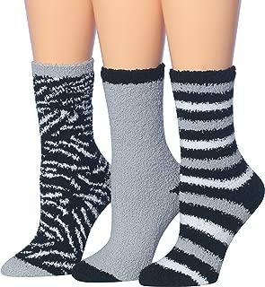 Tipi Toe Women's 3-Pairs Cozy Microfiber Anti-Skid Soft Fuzzy Crew Socks