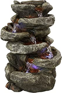 Sunnydaze 6-Tier Stone Falls Tabletop Water Fountain with LED Light, 15 Inch