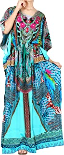 LA LEELA Women's Long Caftan Tunic Kimono Dress Summer Evening Party Drawstring