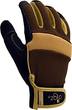 DIGZ Men's Garden Gloves, Durable Fabric Gardening Gloves with Adjustable Wrist Strap, Brown/Tan/Black, Single Pair, Larg