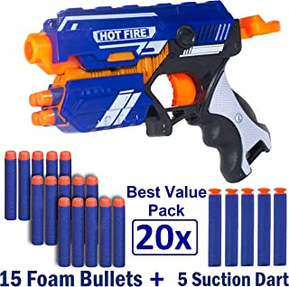WISHKEY Blaze Storm Manual Soft Bullet Shooting Gun Toy with 20 Safe Foam Bullets for Kids (Multicolour)