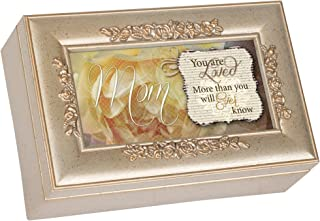 Cottage Garden Mom You are Loved Silvertone Embossed Floral Jewelry Music Box Plays Wind Beneath My Wings