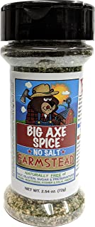 Big Axe Spice FARMSTEAD - Sodium Free Vegetable Dip Seasoning Spice Blend / FREE of Salt, Sugar, Gluten and Preservatives ~ Vegetarian Vegan Paleo Kosher & Halal Friendly