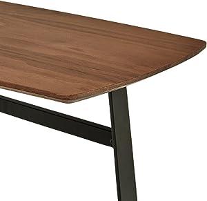 Rivet - Mesa de centro de madera y metal estilo industrial ligeramente inclinada, 80 cm de ancho (nogal)