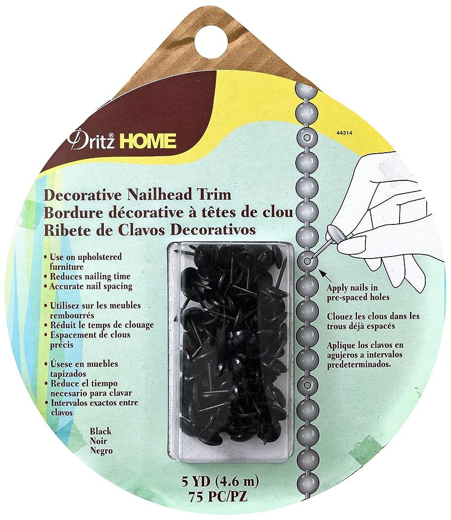 Dritz Home 44314 Smooth Decorative Nailhead Trim, 7/16-Inch x 5-Yards, Black (75-Piece)