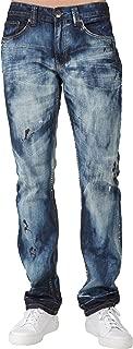 Men's Slim Fit Premium Jeans 5-Pocket Dark Blue with Paint Splatter
