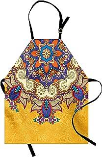 Lunarable Yellow Mandala Apron, Ukrainian Oriental Ethnicity Vintage Lace Doily Inspired Antique Pattern, Unisex Kitchen Bib with Adjustable Neck for Cooking Gardening, Adult Size, Purple Yellow