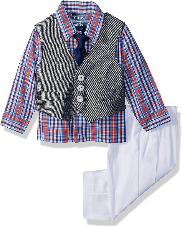 IZOD Baby Boys' 4-Piece Set with Dress Shirt, Pants, Tie, and Vest