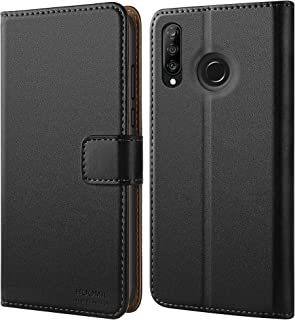 HOOMIL Case Compatible with Huawei P30 Lite, Premium Leather Flip Wallet Phone Case for Huawei P30 Lite Smartphone (Black)