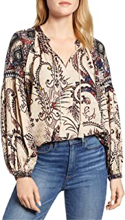 Lucky Brand womens BORDER PRINT PEASANT TOP Shirt