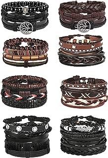 28Pcs Braided Leather Bracelet for Men Women Wooden...