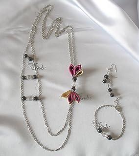 Parure lunga con perle ematite e dettagli kanzashi