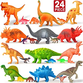 Feroxo Dinosaur Toys Dinosaur Party Supplies – Realistic Plastic Toy Dinosaurs Figures with Book Kids Dinosaur Toys Birthday Favors for Boys Girls Figurines Cake Small Prizes Easter Egg Pinata Filler