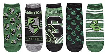 Harry Potter Slytherin Juniors/Womens 5 Pack Ankle Socks Size 4-10, Green