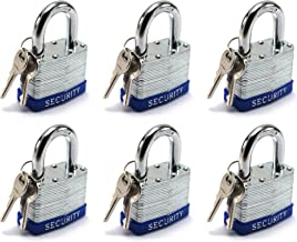 Elitexion Heavy Duty Laminated Steel Padlock, Commercial Grade Keyed Alike 2-Inch (Pack of 6)