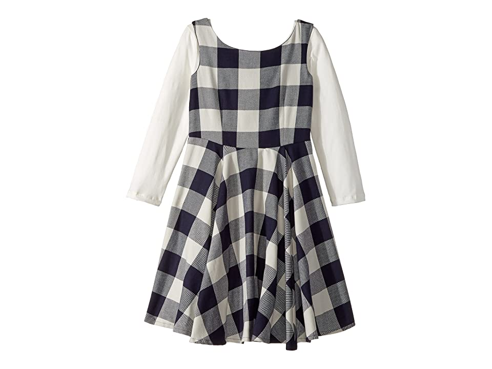 fiveloaves twofish Flannel Fit N Flare Dress (Big Kids) (Navy Buffalo Check) Girl
