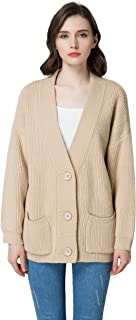 KUBITU Womens Casual V Neck Button Down Chunky Long Sleeves Cardigan Sweater With Pocket