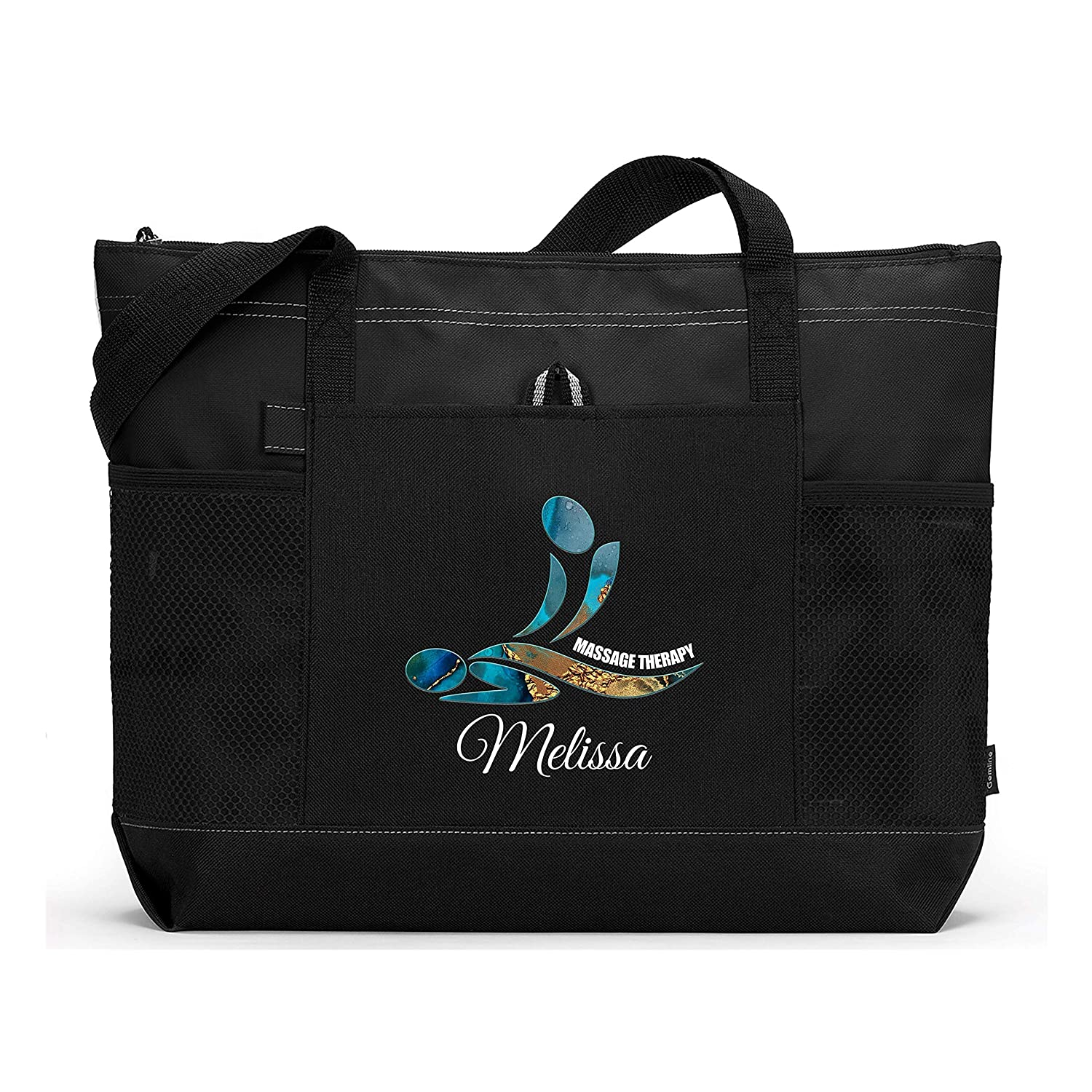Massage Therapy Personalized Printed Tote Mesh Pockets with Sale price Bag Deluxe