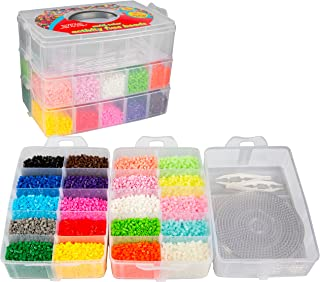 20,000 Fuse Beads - 20 Colors (5 Glow in The Dark), Tweezers, Peg Boards, Ironing Paper, Case - Works with Perler Beads