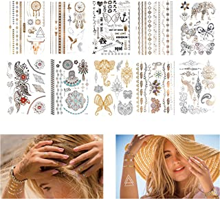 Kare & Kind Temporary Metallic Henna Tattoos for Women Teens Girls - 10 Sheets - Glitter Shimmer Designs Jewelry Fake Tattoo Stickers - 150+ pcs Waterproof Color Flash - Bracelets, Necklace, Anklets