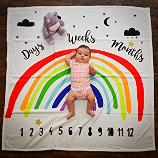 Rainbow Baby Monthly Milestone Blanket Photography Backdrop by Stackable Creations | Props Included Large 47