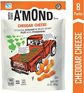 Cheddar Snack Puffs by A'mond Snacks, 8 Pack, 3 oz Each, Almond and Ancient Grain Plant-Based Blend, Gluten-Free and Non-GMO