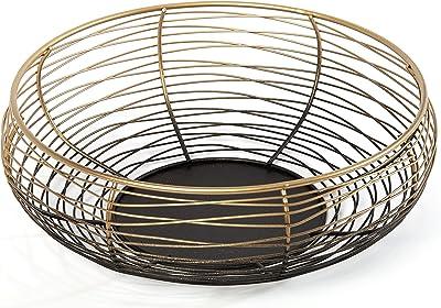 Heitmann DECO 7501Metal Bowl, Metal Stand, Gold/Black, 24.5x 24.5x 9cm