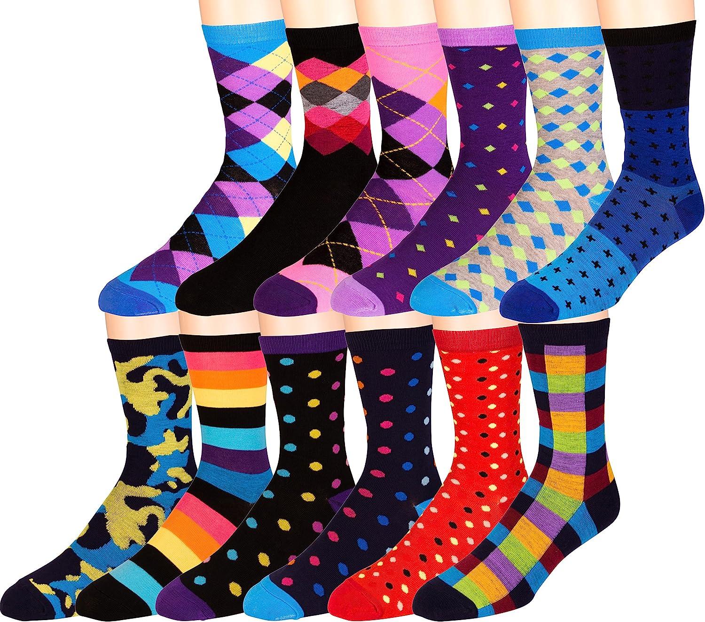 ZEKE Men's Pattern Dress Funky Fun Socks 12 Brand Cheap Sale Venue Finally popular brand Colorful Crew Assort