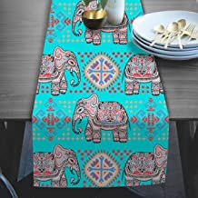 RADANYA Elephant Print Table Runners Tafeta Silk Table Runner Long Table Runner for Coffee Gatherings Holidays & Thanksgiving Dinner Parties 14x72 Inches