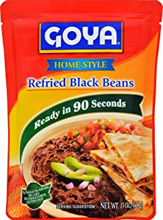 Goya Foods Refried Black Beans Pouch, 15 Ounce (Pack of 12)