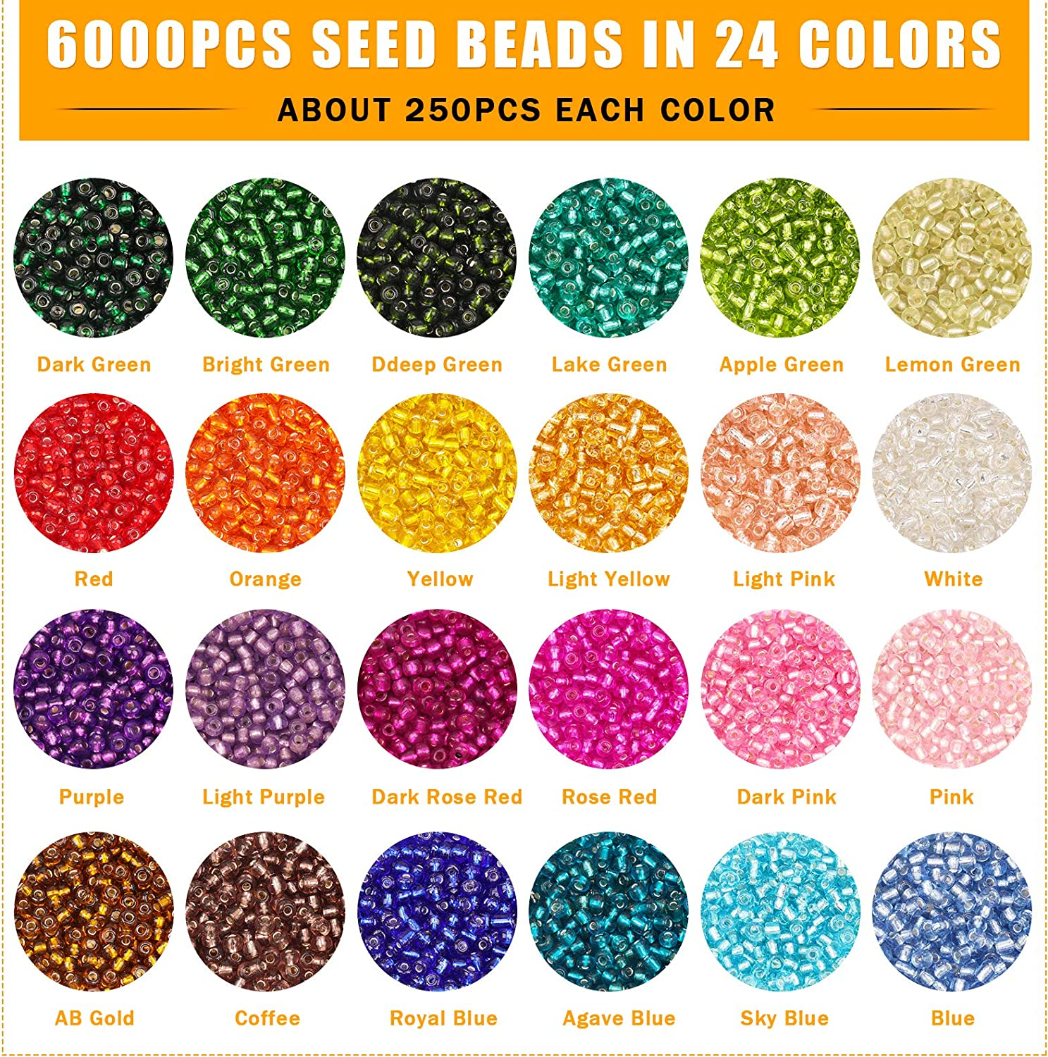 Gacuyi 24Colors Small Rainbow Pony Glass Beads Bulk with Jewelry Making Findings and Tools for Adult DIY Jewelry Making Bracelets Necklaces and Earrings 6000PCS 4mm 6//0 Glass Seed Beads kit