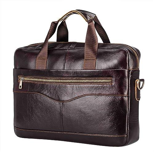 3af89fe55a1b Men s Leather Briefcase Cross-Body Shoulder Handbag Vintage Crazy Horse  Genuine Large Capacity Messenger Tote