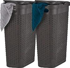 Superio Slim Laundry Hamper White 40 Liter (2 Pack) Durable Plastic Hamper Basket with Lid, Durable Washing Bin 1.15 Bushe...