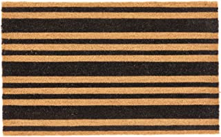 mDesign Rectangular Coir and Rubber Entryway Doormat with Natural Fibers for Indoor or Outdoor Use - Neutral Design - Stri...