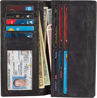 Mens Vintage Genuine Leather RFID Blocking Long Wallet Bifold Wallets For Men