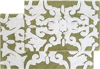 Chesapeake Iron Gate 2Pc. Green & White Scroll Bath Rug Set 37310 (20