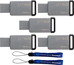Kingston (TM) Digital 128GB (5 Pack) USB 3.0 Data Traveler 50 Flash Drive DT50, 110MB/s Read, 15MB/s Write Speed with Everything But Stromboli (TM) Lanyards (2) (DT50/128GB)