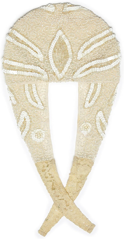 Gatsbylady london Vegas Vintage Inspired Flapper Cap In Cream