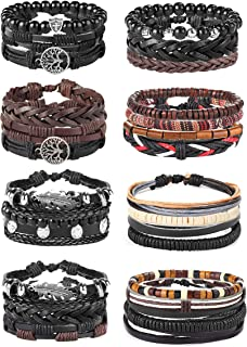 8-26 Pcs Braided Leather Bracelet for Men Women Wooden Beaded Bracelets Wrap Adjustable