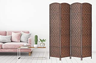 Legacy Decor Room Divider 4 Panels Diamond Weave Bamboo Fiber Privacy Partition Screen BrownColor