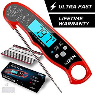Instant Read Meat Thermometer - Best Waterproof Ultra Fast Thermometer with Backlight & Calibration. Kizen Digital Food Thermometer for Kitchen, Outdoor Cooking, BBQ, and Grill! (Red)