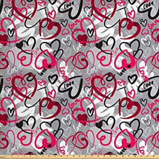Ambesonne Love Fabric by The Yard, Romantic Random Hand Drawn Style Hearts and Love Words Crazy Romance Valentines, Decorative Fabric for Upholstery and Home Accents, 1 Yard, Red Grey